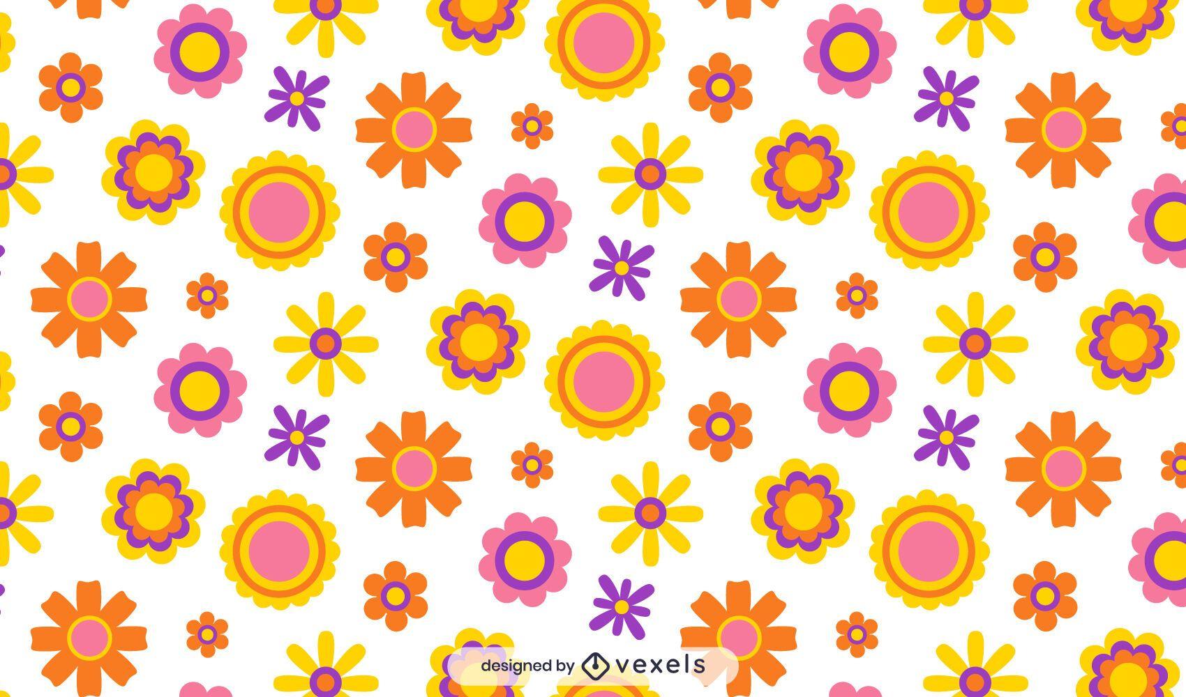 Hippie flowers pattern design