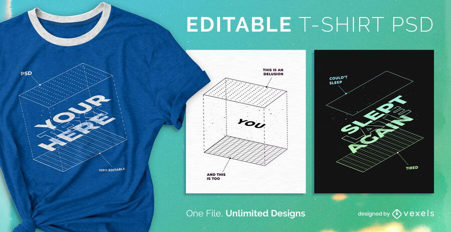Camiseta caja psd escalable