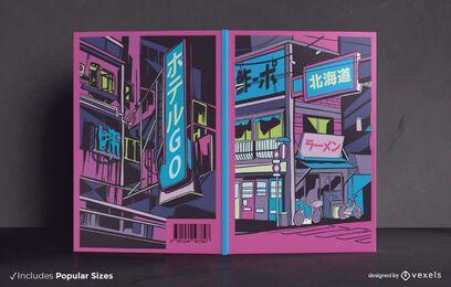 Diseño de portada de libro de la ciudad de Vaporwave
