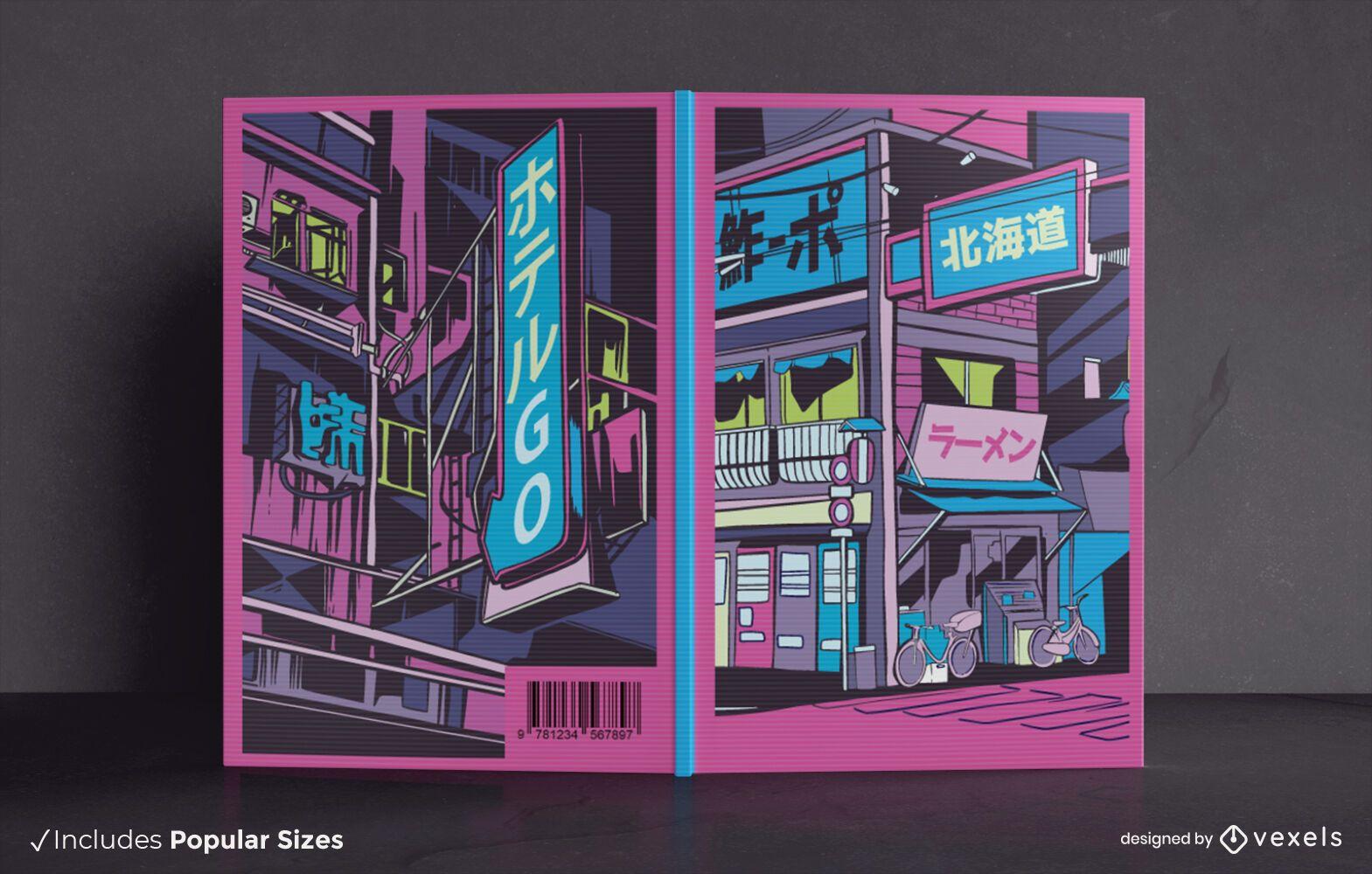 Vaporwave city book cover design
