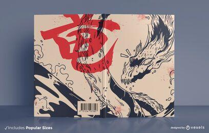 Diseño de portada de libro de dragón japonés