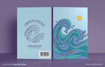 Diseño de portada de libro de citas de ondas