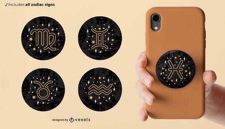 Conjunto de popsocket de signos del zodíaco