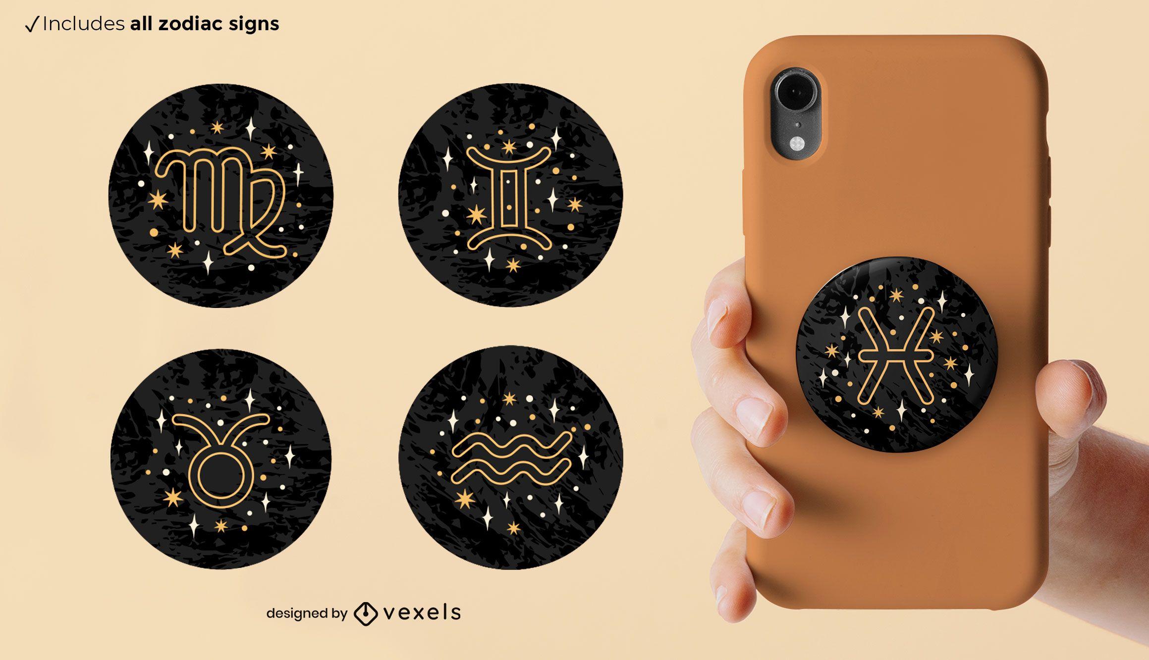 Zodiac signs popsocket set