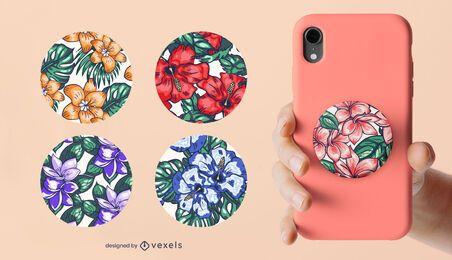 Conjunto popsocket floral colorido
