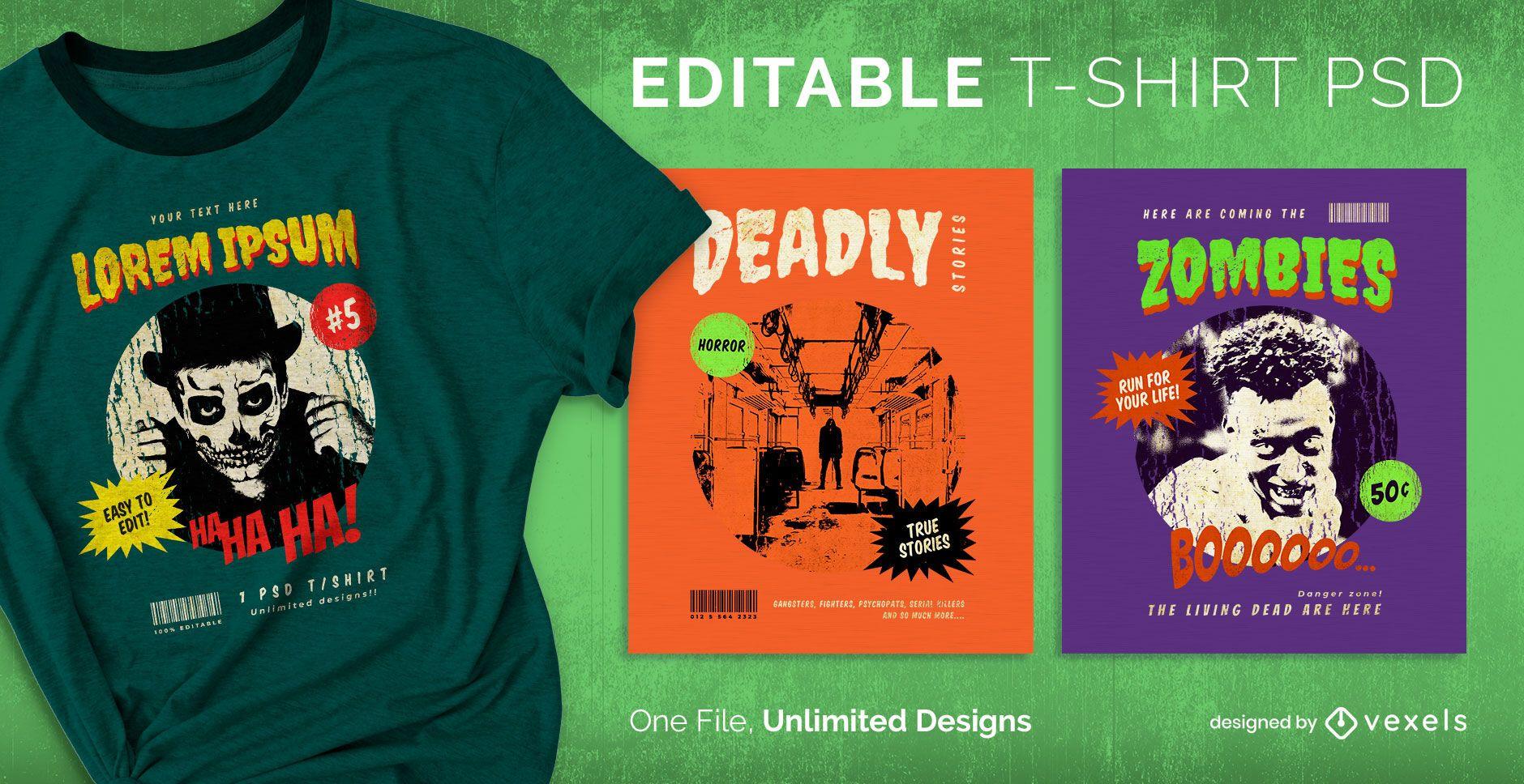 Camiseta psd escalable de terror