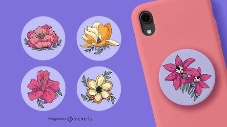 Diseño de conjunto de popsocket de flores