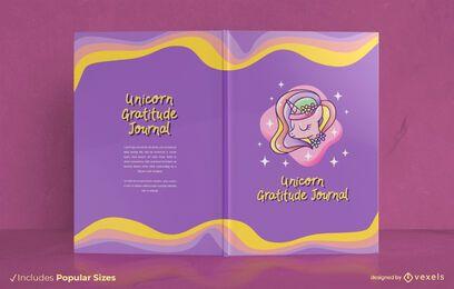 Diseño de portada de libro de gratitud de unicornio
