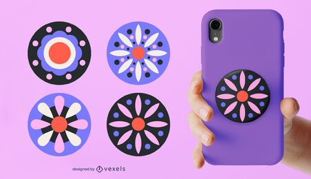 Geometric flowers popsocket set