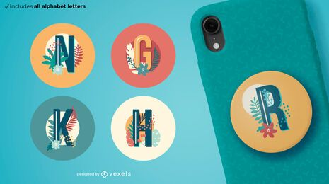 Tropical letters popsocket set
