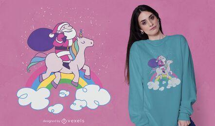 Diseño de camiseta santa unicorn rider