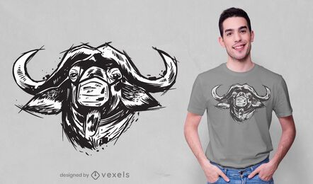 Diseño de camiseta de búfalo de máscara facial.