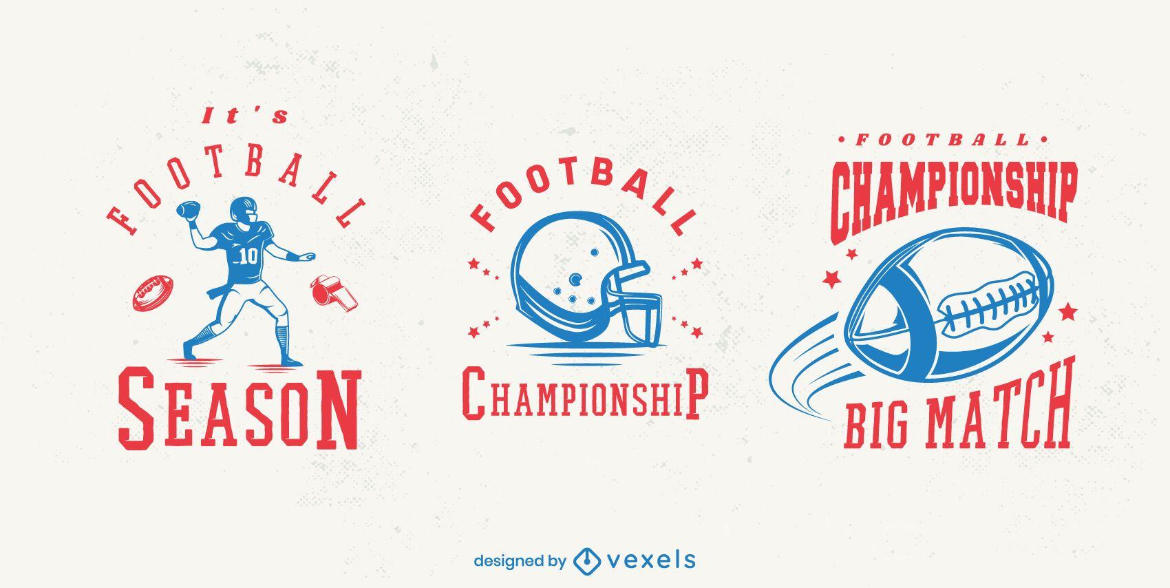 Conjunto de diseño de insignia de fútbol americano