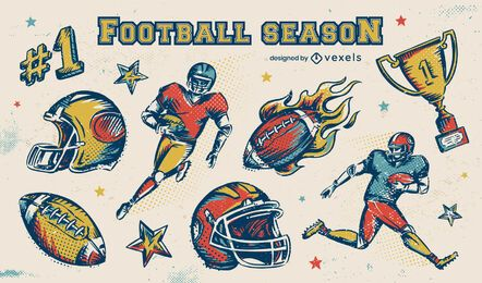 Football season elements set
