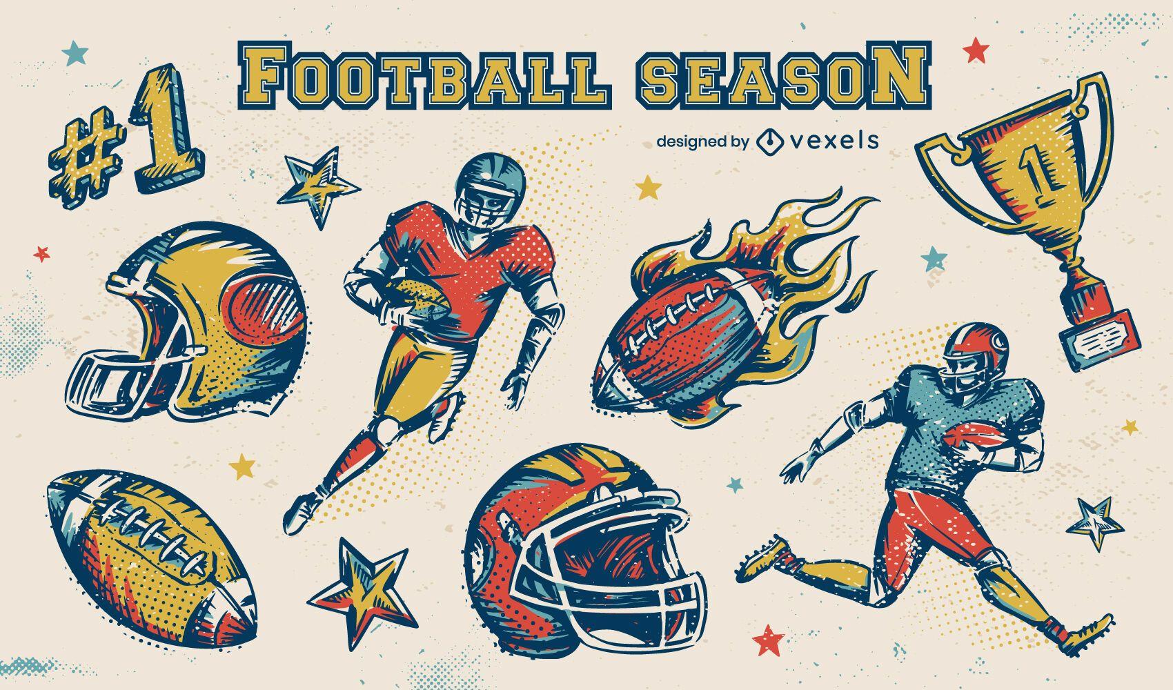 Football season elements set