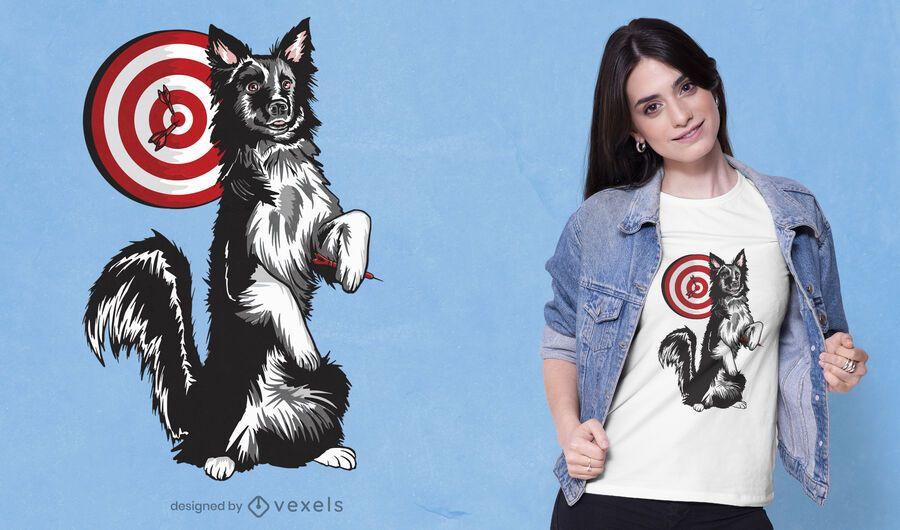Diseño de camiseta de perro dardos.