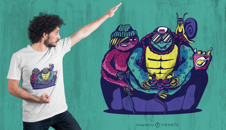 Gamer animals t-shirt design