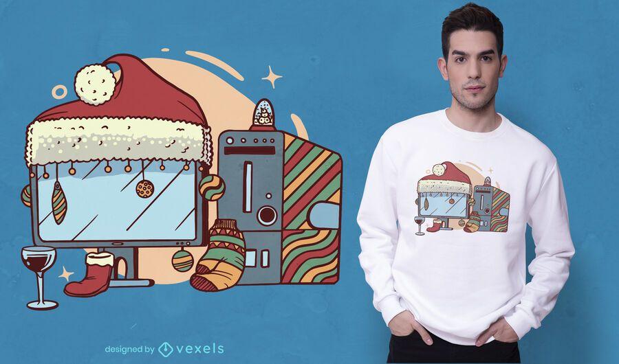 Diseño de camiseta de computadora navideña