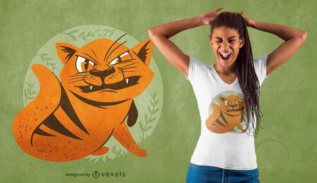 Diseño de camiseta de gato furioso