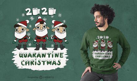 Diseño de camiseta de cuarentena navidad 2020
