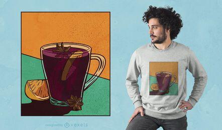 Diseño de camiseta de vino caliente