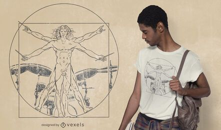 Diseño de camiseta de hombre baterista de vitruvio.