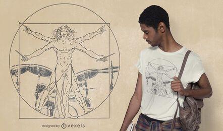 Vitruvian Schlagzeuger Mann T-Shirt Design