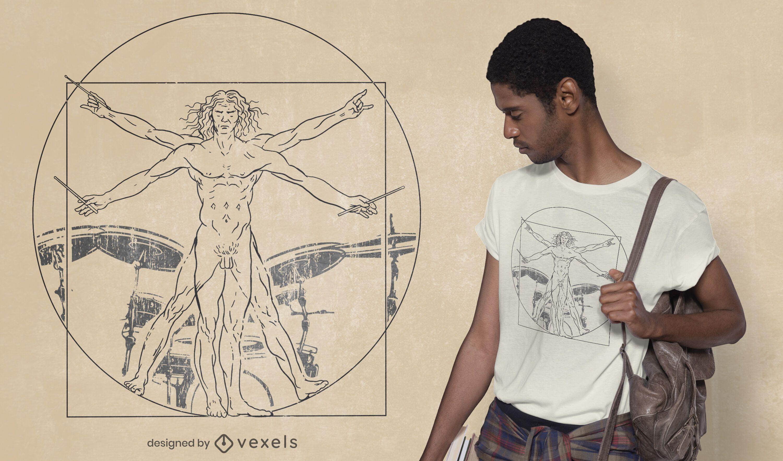 Vitruvian drummer man t-shirt design