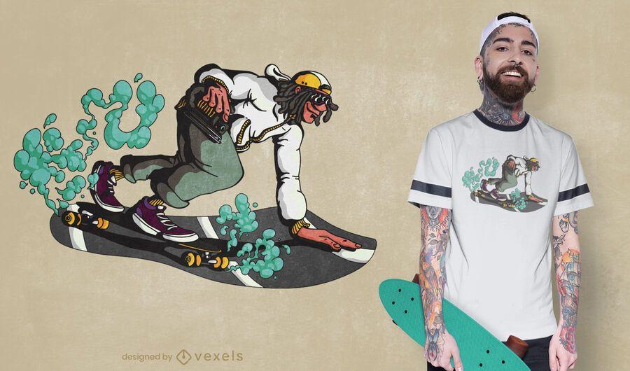 Diseño de camiseta hombre longboarding
