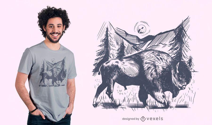 Diseño de camiseta de bisonte dibujado a mano