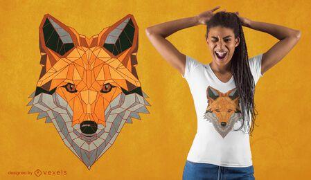 Diseño de camiseta de zorro poligonal.