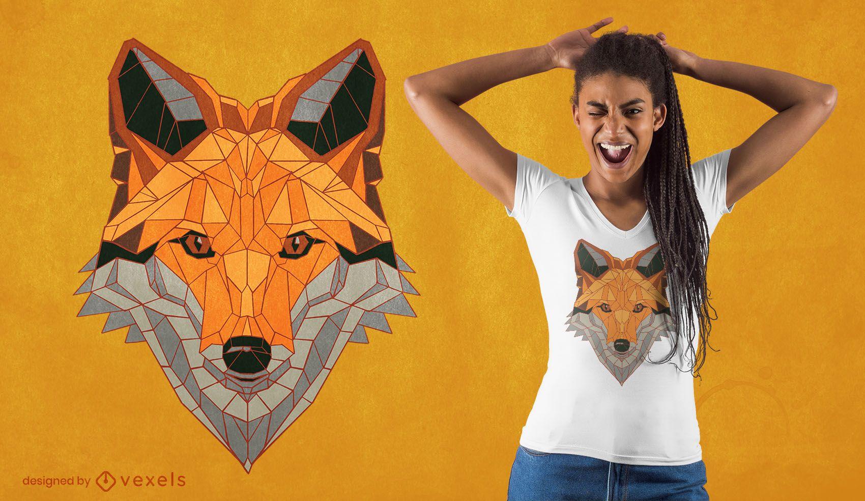 Dise?o de camiseta de zorro poligonal.