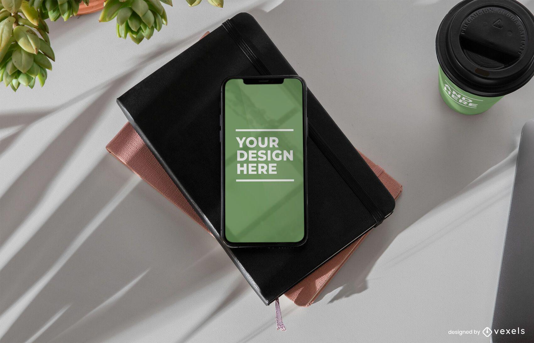 Composición de maqueta de iphone psd