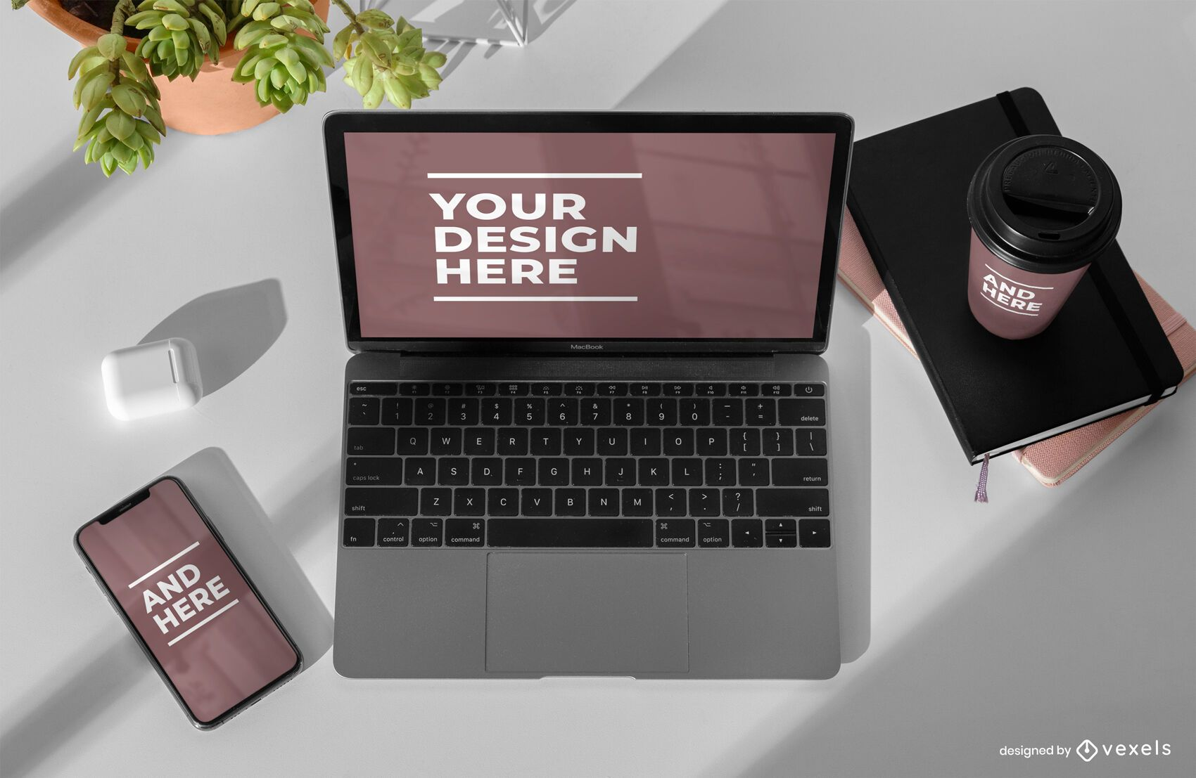 Electronic devices mockup psd composition