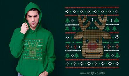 Diseño de camiseta de suéter feo de reno