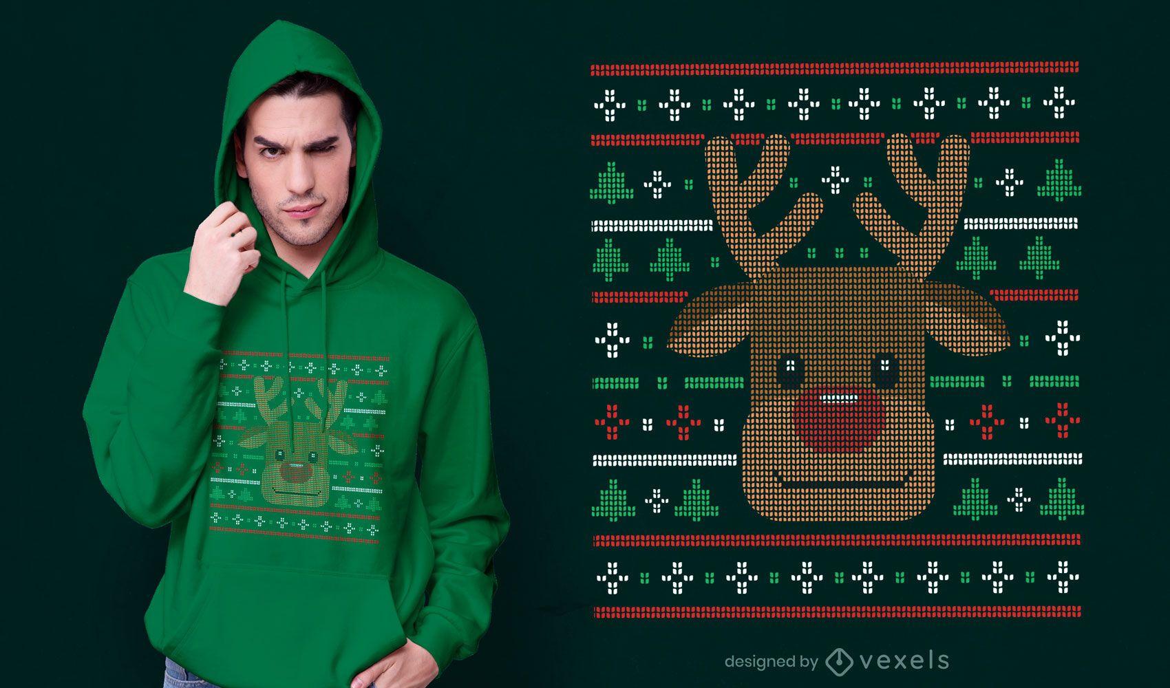 Design de camiseta com suéter feio de rena