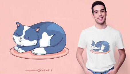 Lindo diseño de camiseta de gato durmiendo