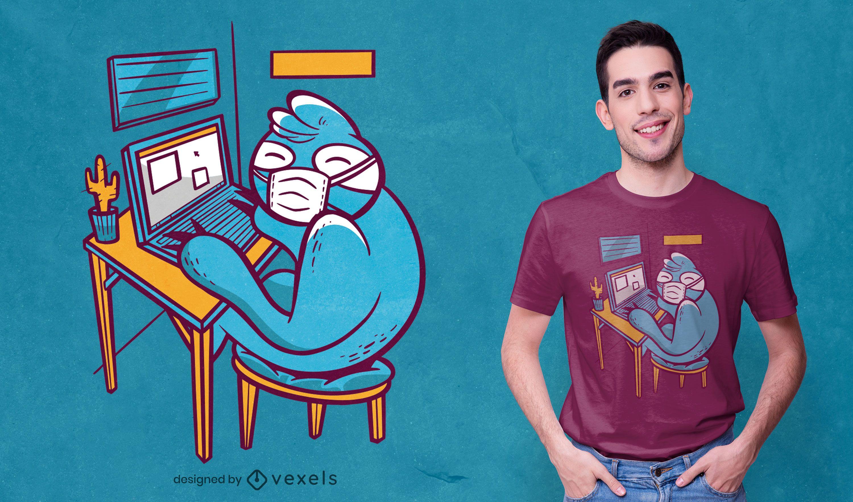 Diseño de camiseta de perezoso de oficina en casa.