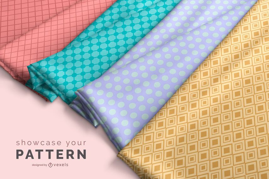 Fabric rolls pattern mockup design