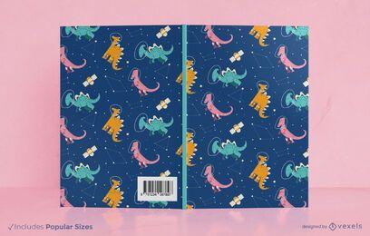 Diseño de portada de libro de dinosaurios espaciales