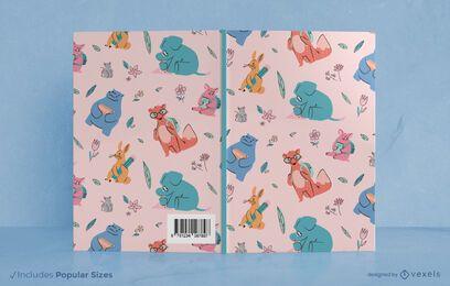 Design de capa de livro de animais escolares