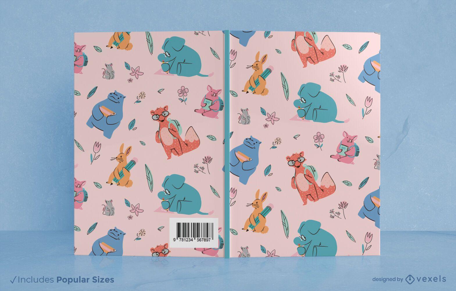 Diseño de portada de libro de animales escolares