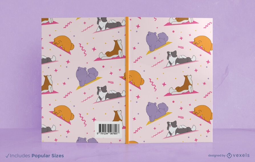 Diseño de portada de libro de perros de yoga