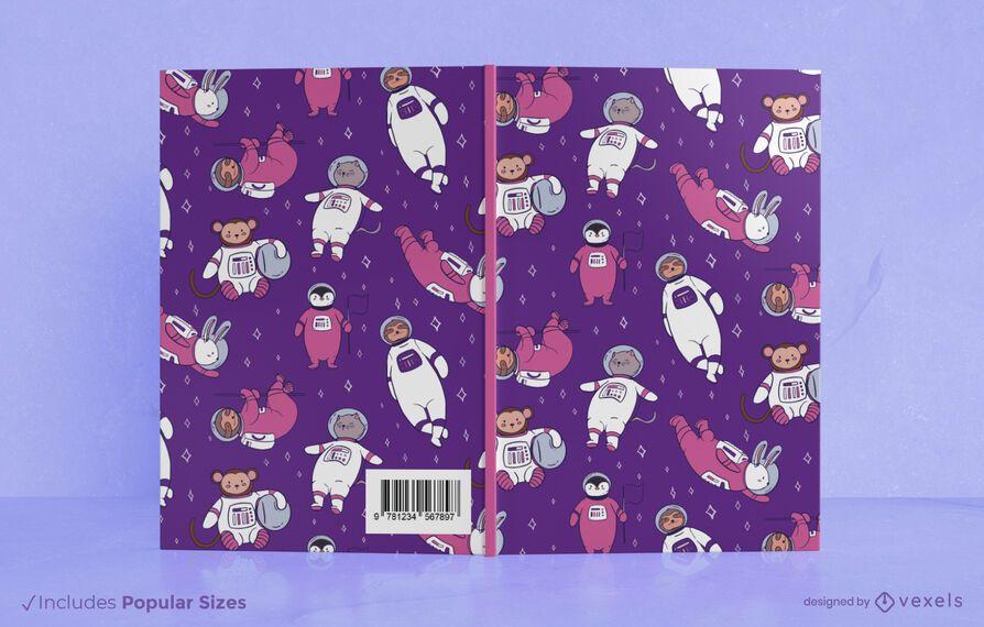 Diseño de portada de libro de animales espaciales