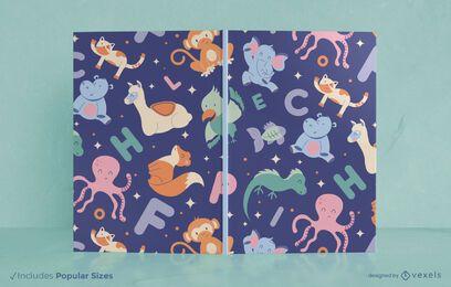 Diseño de portada de libro de letras de animales