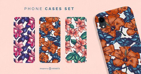 Conjunto de capas de telefone florais