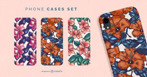 Conjunto de fundas de teléfono floral