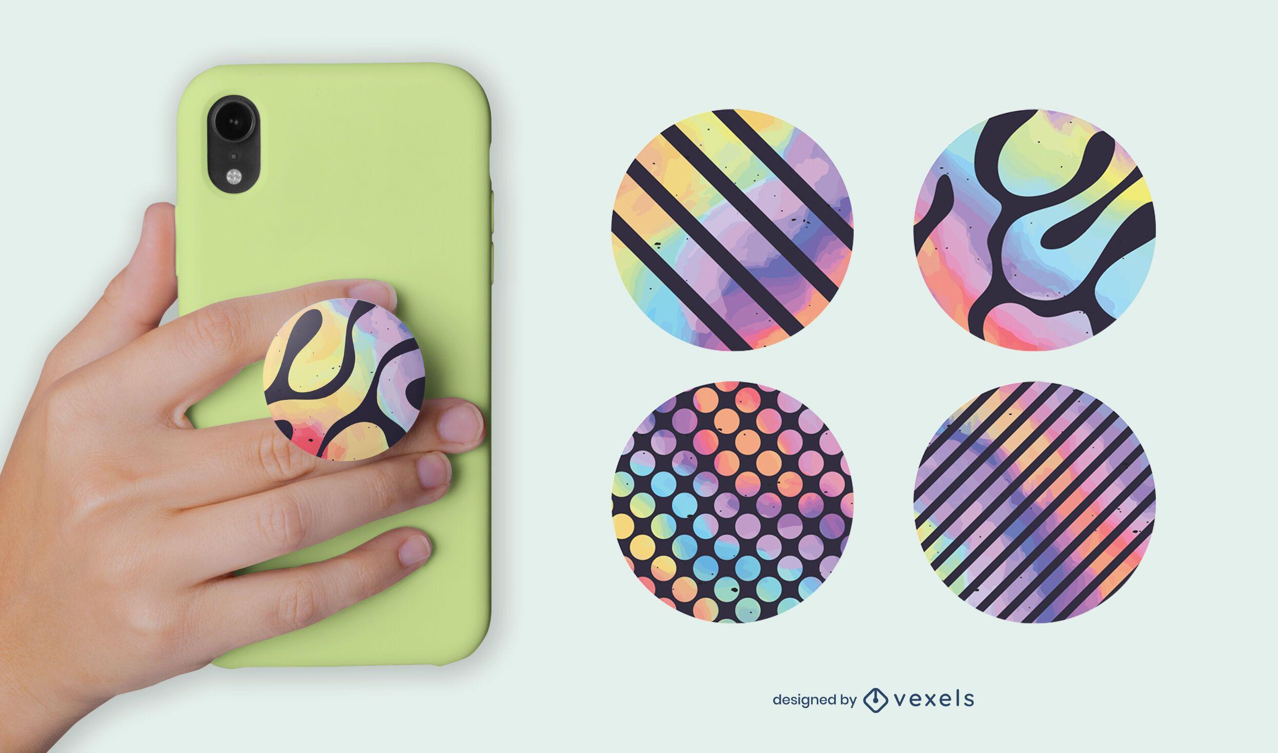 Watercolor geometric popsocket set