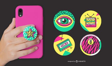 Retro memphis popsocket set