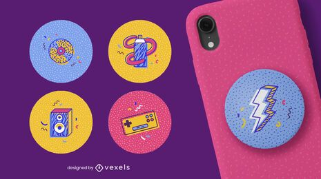 Memphis retro popsocket set